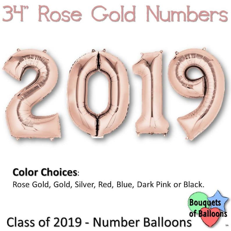 Silver 2019 Big 34 Inch Number Balloons Blue Grad Party Balloon Number Bunch Gold Class of 2019 Red Pink or Black Rose Gold