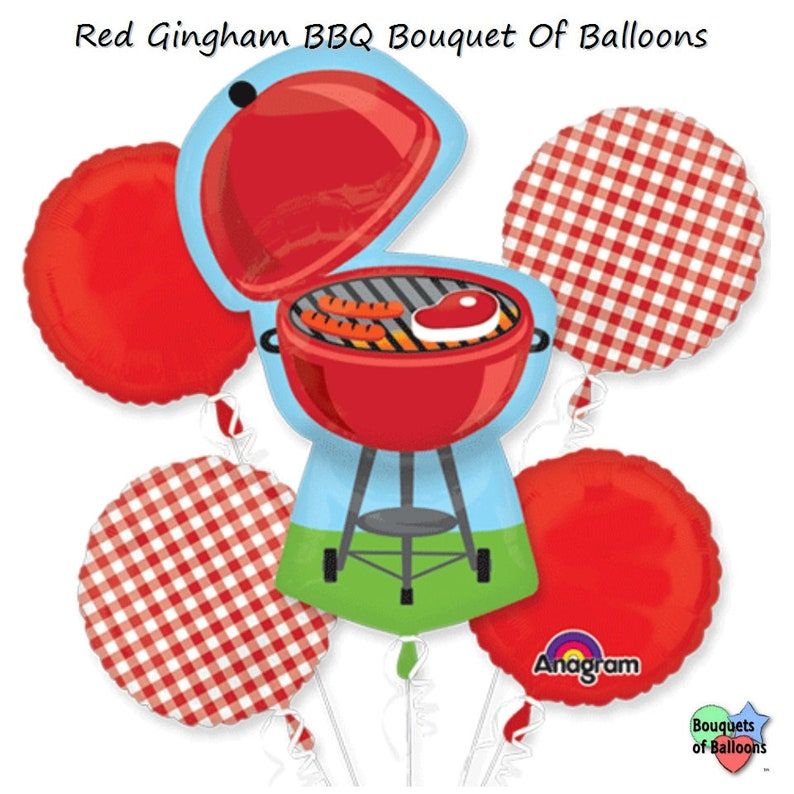 Red Gingham Pool Backyard Summer Barbeque Party Balloons Red Gingham BBQ Bouquet Of Balloons 5 Foil Balloon Bouquet