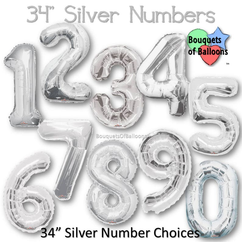 Big 34 Inch Silver Number Balloons Any 0 1 2 3 4