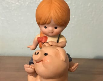 Enesco Country Cousins Figurine - Katie On A Pig
