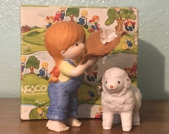Enesco Country Cousins Figurines - Katie With Lamb- 2 Piece Set