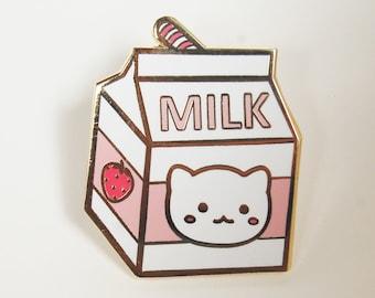 Strawberry Milk Carton Hard Enamel Pin