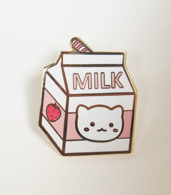 Strawberry Milk Carton Hard Enamel Pin | Etsy