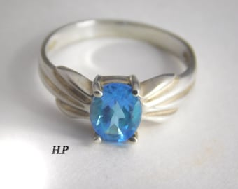 Vintage Sterling Silver AAA Natural Topaz Ring ( Size 7.5 )
