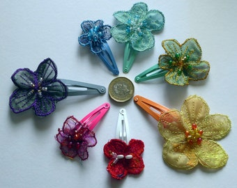 Machine embroidered beaded hair flowers on clips. Boho, bridal or bridesmaids hair clips for weddings or everyday