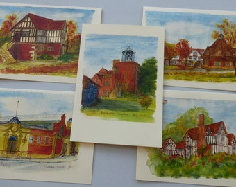 Set of 5 printed cards from detailed ink and watercolour drawings. Blank cards suitable for birthday, Christmas, thankyou, note cards