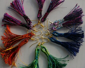 Machine embroidered tassel earrings. Textile earrings
