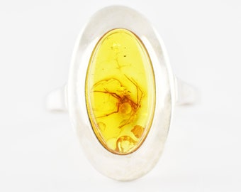 Large MOTH Insect Genuine Baltic Amber Sterling Silver 925 Ring US Size 7.5