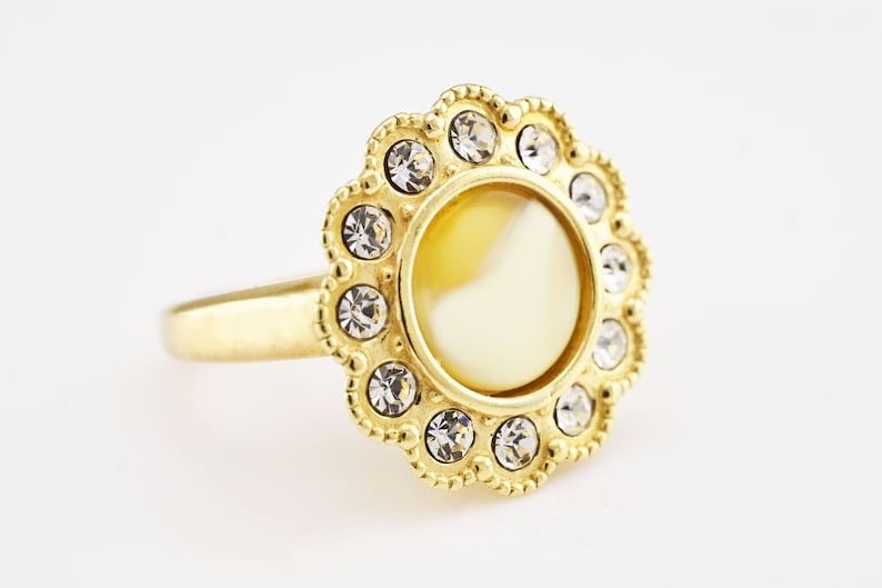 White Round Baltic Amber Bead Cubic Zirconias Silver Gold Plated Ring US Size 7