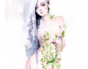 "Watercolour gouache original painting ""To heal"""