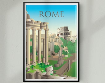 Travel Poster of Rome Italy, Travel Print of Rome Italy, Colosseum, Roman Forum, Italy Travel Poster, Italy Travel Print
