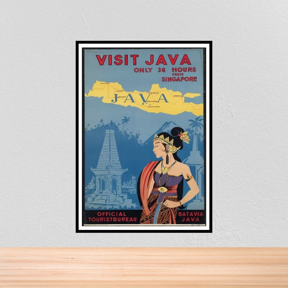Vintage Travel Poster Java, Vintage Travel Print of Java Indonesia, A4, A3, 12x16, 12x18, A3+, 5x7