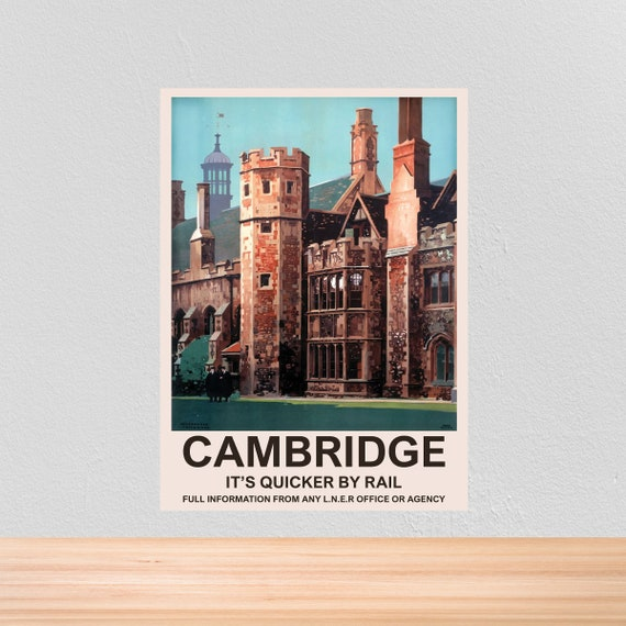 Cambridgeshire Railway See England By Rail Vintage Old Retro Poster Picture