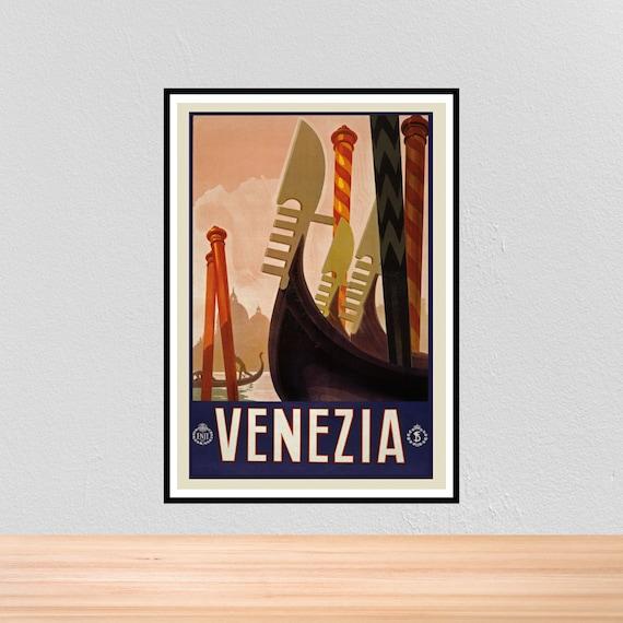 VINTAGE VENICE VENEZIA ITALY TRAVEL A4 POSTER PRINT