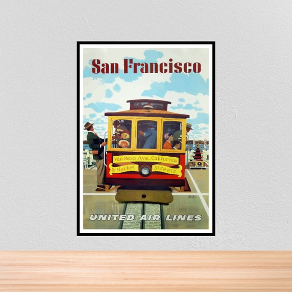 VINTAGE SAN FRANCISCO UNITED AIR LINES TRAVEL A3 POSTER PRINT