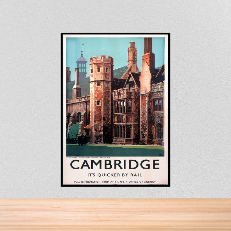 Vintage Travel British Rail Poster Cambridge, Vintage British Rail Travel  Print of Cambridge, A4, A3, 12x16, 12x18, A3+, 5x7