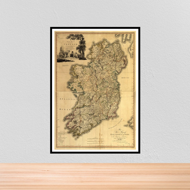 A4 Map Of Ireland.Vintage Historical Map Of Ireland Vintage Historic Map Print Etsy