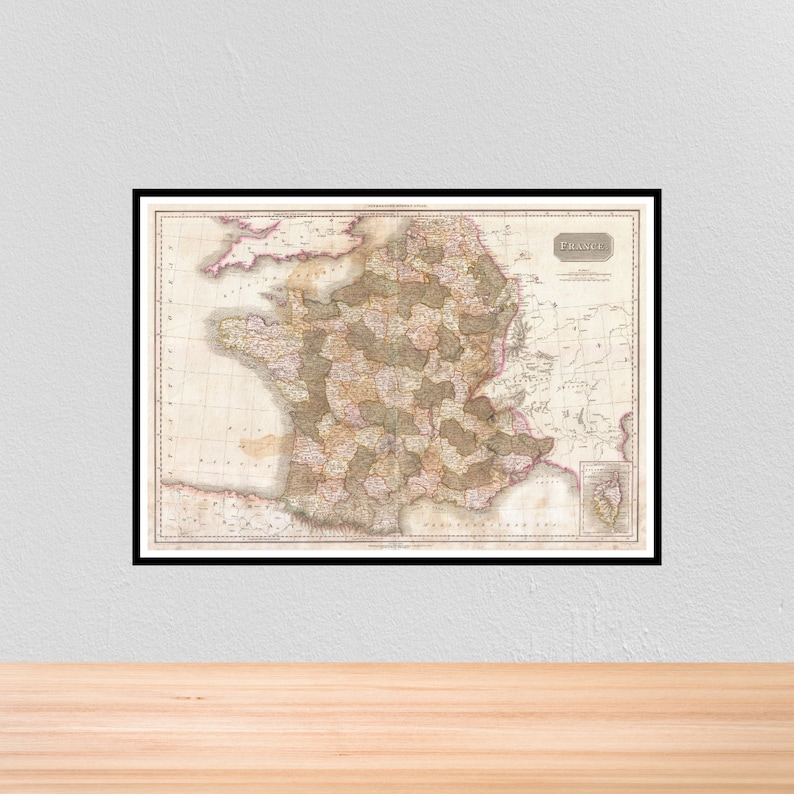 A4 Map Of France.Vintage Historical Map Of France Vintage Historic Map Print Of France A4 A3 12x16 12x18 A3 5x7