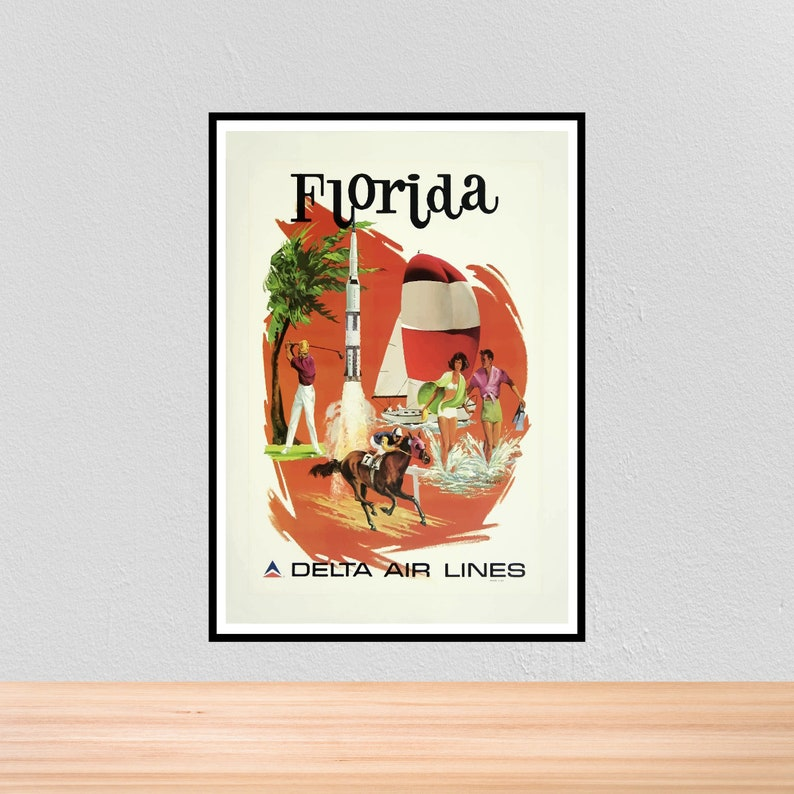 VINTAGE CENTRAL FLORIDA DELTA AIR LINES TRAVEL A4 POSTER PRINT