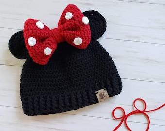 Minnie Mouse Beanie Hat Bow et oreilles Logo New Official Disney Noir Taille Unique