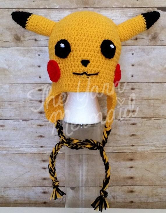 033aea2af5e3 Pikachu Pokemon le bonnet chapeau au Crochet avec des   Etsy