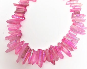 Pink AB Quartz Points Crystal Point Beads Top Drilled Raw Quartz Crystal Stick Beads Pink Natural Raw Stones LynnsGemSupplies