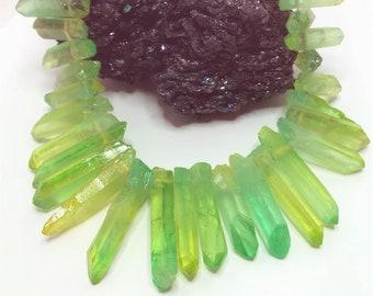 Yellow Green Quartz Points Crystal Point Beads Top Drilled Raw Quartz Crystal Stick Beads Multicolour Natural Stones LynnsGemSupplies
