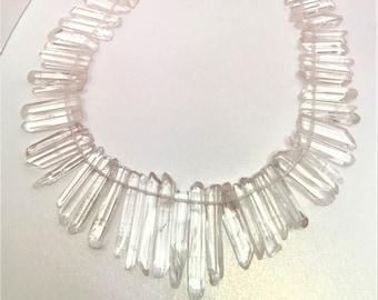 Slender Crystal Clear Quartz Points Thin Crystal Point Beads Top Drilled Raw Quartz Crystal Stick Beads Natural Stones LynnsGemSupplies