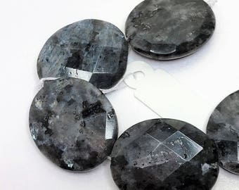 Faceted Larvakite Oval Gemstones 30 x 25mm Big Bold Statement Natural Stones Grey Focal Stones Jewellery Making LynnsGemSupplies