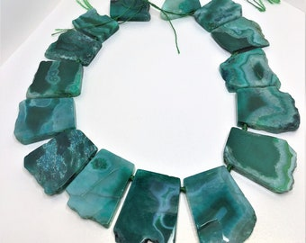 Large Green Agate Gemstone Beads Agate Slice Stones 35 - 45mm Bold Statement Natural Agate Focal Pendant Stone LynnsGemCreations