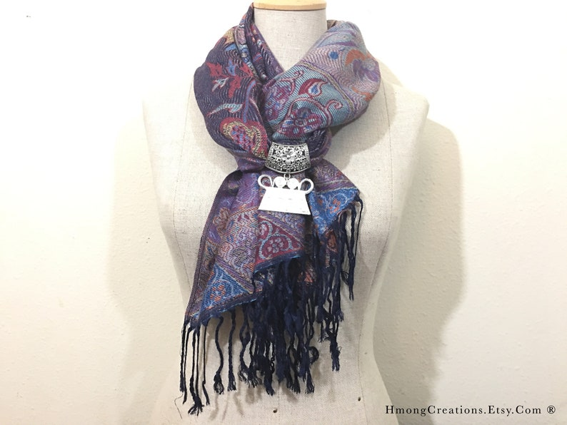 Hmong Scarf - With 2nd silver Hmong Spirit Lock - Hmong Creations - Ready  to Ship