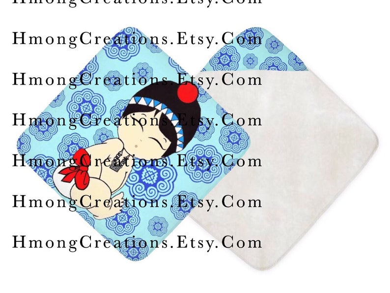 Hmong Hood Baby Towels - Baby Boy - Ships In 2 Weeks