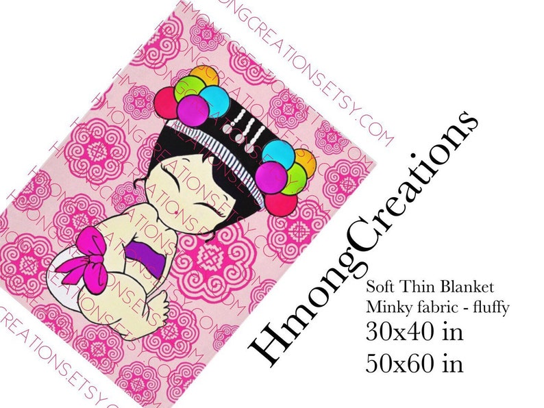Hmong Blanket - Baby Girl - Pom Pom - Minky - Hmong Creations - Ships in 2  Weeks