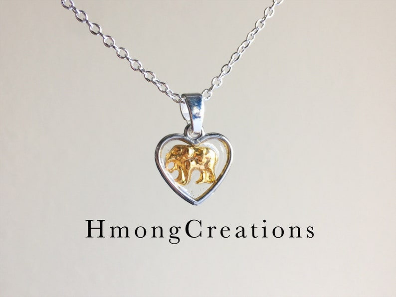 Necklace - hmong - gold color elephant - hmong creations - tiny