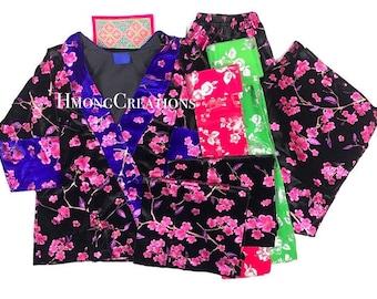 Size 40 - Pants Outfit - 6 piece includes: Shirt, 2 apron, 2 sash, pants - Panda hmong traditional outfit hmong pants outfit