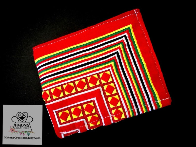 Wallet | Hand stitched | hmong green | Hmong Creations