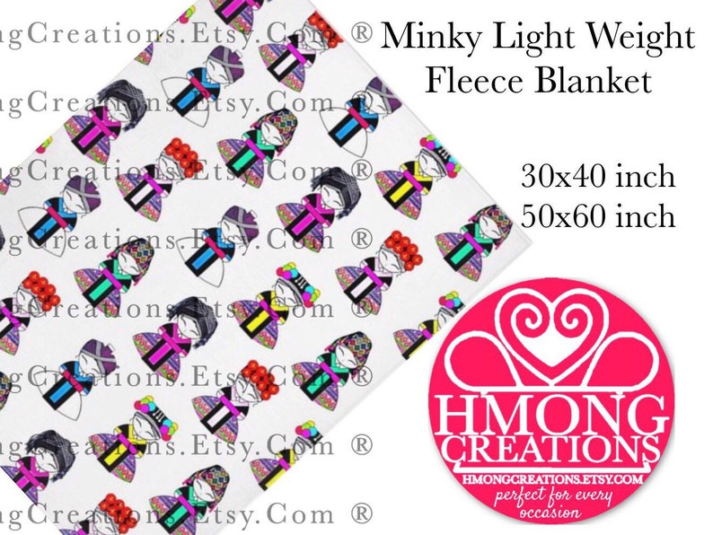 Hmong Blanket - Hmong Dolls - Minky - Hmong Creations - Ships in 2 Weeks