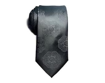 Hmong Tie - #John - black - elephant embroidered - Unity