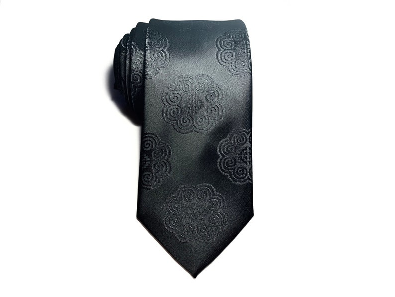 Hmong Tie  John  black  elephant embroidered  Unity image 0