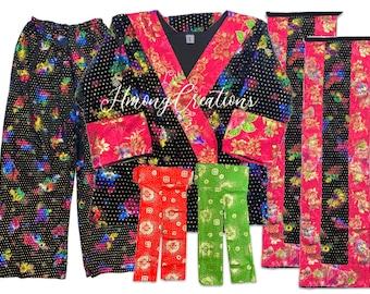 Size 38 - Pants Outfit - 6 piece includes: Shirt, 2 apron, 2 sash, pants - Panda hmong traditional outfit hmong pants outfit