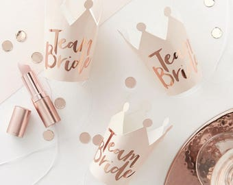 Team Bride - Pink And Rose Gold Foiled Team Bride Party Crowns x 5