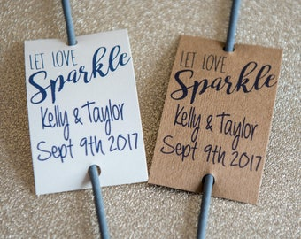 Let Love Sparkle - 20 Personalised Wedding Sparkler Tags