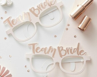 Team Bride Pink & Rose Gold Team Bride Hen Party Glasses x 8