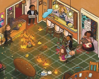 "Community TV Show Art Print | 5 x 5"" | The Darkest Timeline | Remedial Chaos Theory | Home Decor | Digital Illustration | Greendale Seven"