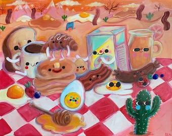 "Breakfast Ranch - Original Painting Art Print - 8 x 10"" - Home Decor, Art, Illustration, Food Art, Cute Art, Acrylic Surreal Kitsch Painting"