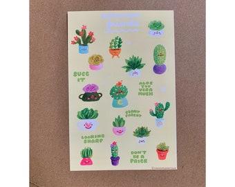 Succulent Friends Pun Sticker Sheet - Cute Kawaii Succulent Plants Matte Stickers, for Journals, Planners, Notebooks - Nature Cactus
