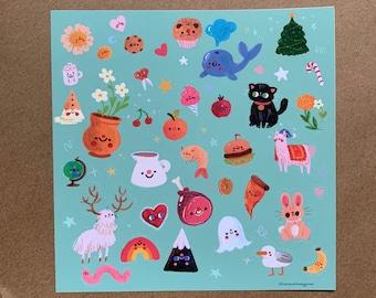 Cute Blue Doodle Sticker Sheet, Cute Kawaii Sticker Sheet for Bullet Journals, Notebooks, Planners | Food, Animals, Nature Illustration Art