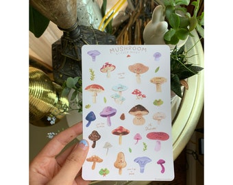 Mushroom Pun Sticker Sheet, Cute Kawaii Stickers for Bullet Journal, Planner, Notebook - Mycelium, Nature, Plants, Fungi, Hippy Mushroom Art