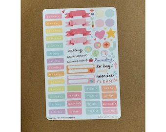 Cute Pastel Aesthetic Daily & Weekly Bullet Journal Sticker Sheet for Bullet Journals, Notebooks and Planners - Kawaii Organization Stickers