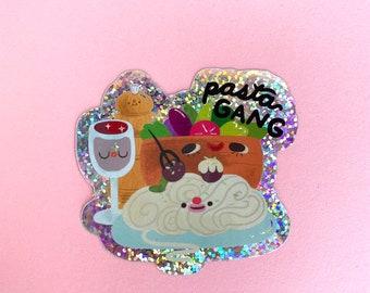 Pasta Gang Glitter Sticker | Kawaii Cute Sticker | Illustration Art | Food Sticker | Spaghetti Noodles Italian Food | Food Art Sticker